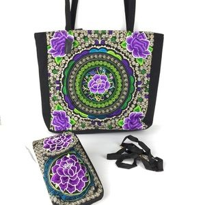 Bags - Mexican bohemian embroidered tote purse & wallet